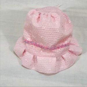 Handmade with Embroidered Flowers Baby Hat, Pink